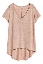 V-neck jersey top - 粉米色 - Ladies | H&M CN 2