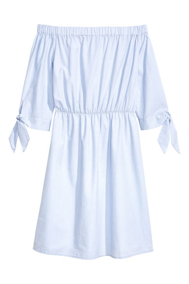 Off-the-shoulder dress - Light blue - Ladies | H&M CA 1