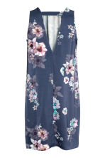 Short satin dress - Dark blue/Floral - Ladies | H&M CN 3