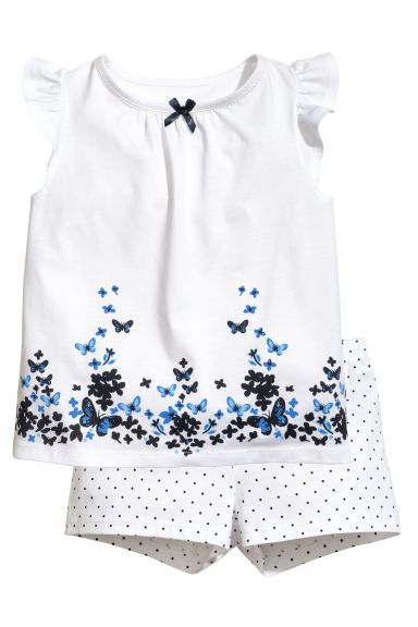 平紋睡衣套裝 - White/Butterflies - Kids | H&M 1