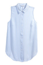 Sleeveless blouse - Light blue/Striped - Ladies | H&M 1