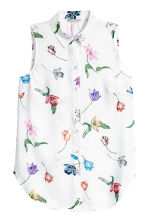 Sleeveless blouse - White/Floral - Ladies | H&M 2