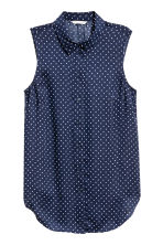 Sleeveless blouse - Dark blue/Spotted - Ladies | H&M 1