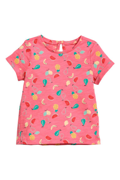 Printed jersey top - Pink/Pineapple -  | H&M CN 1