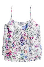 Double-layer strappy top - Powder pink/Floral - Ladies | H&M CN 2