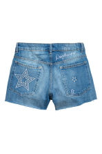 Embroidered denim shorts - Denim blue - Ladies | H&M CN 3
