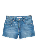 Embroidered denim shorts - Denim blue - Ladies | H&M CN 2