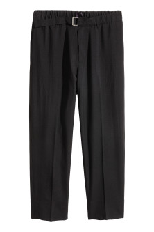 Cropped wool suit trousers