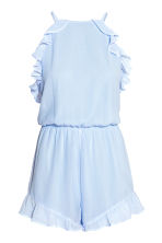 Frilled crêpe playsuit - Light blue - Ladies | H&M 2