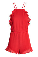 Crêpe playsuit met volants - Rood - DAMES | H&M BE 2
