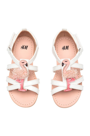 Sandals with appliqué detail - White/Flamingo - Kids | H&M 1