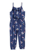 縐紗連身褲裝 - Dark blue/Floral - Kids | H&M 2