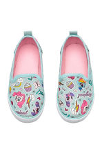 Slip-on canvas trainers - Turquoise - Kids | H&M 1
