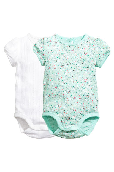 2-pack short-sleeved bodysuits - Mint green/Floral - Kids | H&M 1
