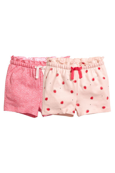 2-pack jersey shorts - Powder pink/Strawberries - Kids | H&M CN 1