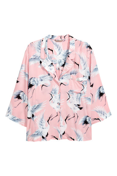 H&M+ Patterned blouse - Light pink/Birds -  | H&M