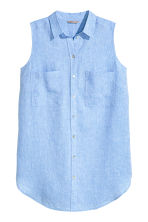 H&M+ Sleeveless linen tunic - Light blue marl - Ladies | H&M CN 2