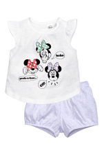 Top and puff shorts - White/Minnie Mouse - Kids | H&M 1