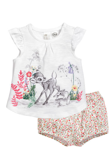 Top and puff shorts - White/Bambi -  | H&M 1