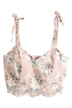 Embroidered bustier - Light pink/Floral - Ladies | H&M CN 2