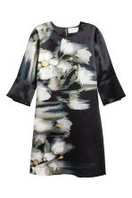 Linen-blend dress - Dark blue/Floral - Ladies | H&M CN 2
