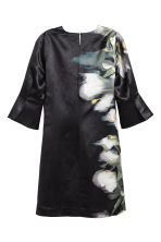 Linen-blend dress - Dark blue/Floral - Ladies | H&M CN 3