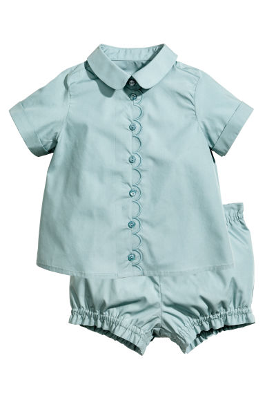 Blouse and shorts - Light petrol - Kids | H&M 1
