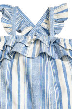 Cotton dobby romper suit - Blue/White/Striped -  | H&M 4