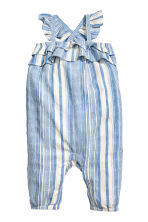 Cotton dobby romper suit - Blue/White/Striped -  | H&M 2