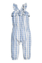Cotton dobby romper suit - Blue/White/Striped -  | H&M 1