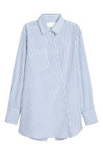 Silk-blend shirt - Blue/White/Striped -  | H&M 2
