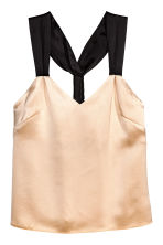 Silk-blend top - Light beige/Black - Ladies | H&M 2