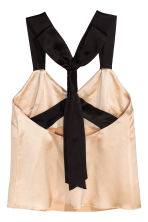 Silk-blend top - Light beige/Black - Ladies | H&M 3