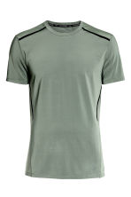 Short-sleeved sports top - Khaki green - Men | H&M 2