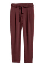 Trousers with a tie belt - Burgundy - Ladies | H&M GB 2