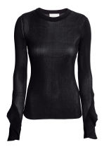 Knitted silk top - Dark blue -  | H&M 2