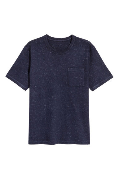 T-shirt with a chest pocket - Dark blue marl - Men | H&M 1