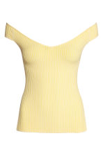 Off-the-shoulder top - Light yellow - Ladies | H&M CN 2