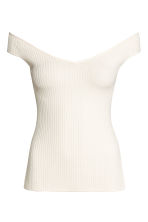 Off-the-shoulder top - Natural white - Ladies | H&M 2
