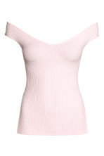 Off-the-shoulder top - Light pink - Ladies | H&M CN 2