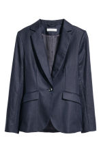 Tailored linen-blend jacket - Dark blue -  | H&M 2