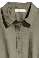 H&M+ Linen-blend shirt - Khaki green - Ladies | H&M CN 3