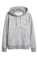 H&M+ Printed hooded top - Grey marl - Ladies | H&M 2