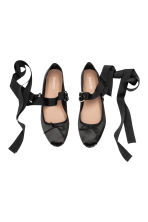 Lace-up ballet pumps - Black - Ladies | H&M 2