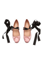 Lace-up ballet pumps - Light pink - Ladies | H&M CA 2
