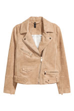 Imitation suede biker jacket - Beige - Ladies | H&M CN 2