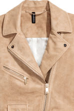 Imitation suede biker jacket - Beige - Ladies | H&M CN 3