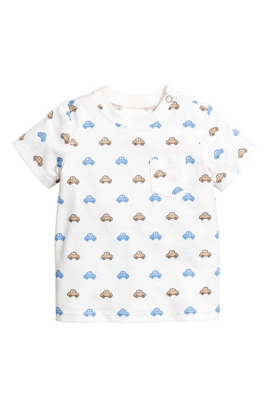 Cotton T-shirt - White/Cars - Kids | H&M CA