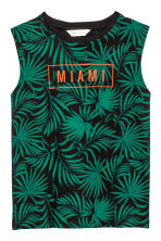 Sleeveless top - Black/Leaf -  | H&M 2