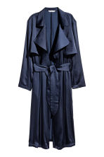 Satin trenchcoat - Dark blue - Ladies | H&M GB 2